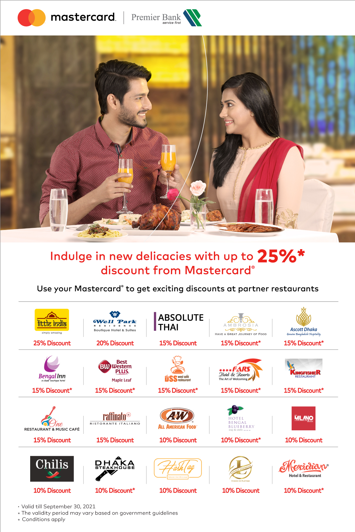 Indulge in New Delicacies Discounts by Premier Bank Mastercard